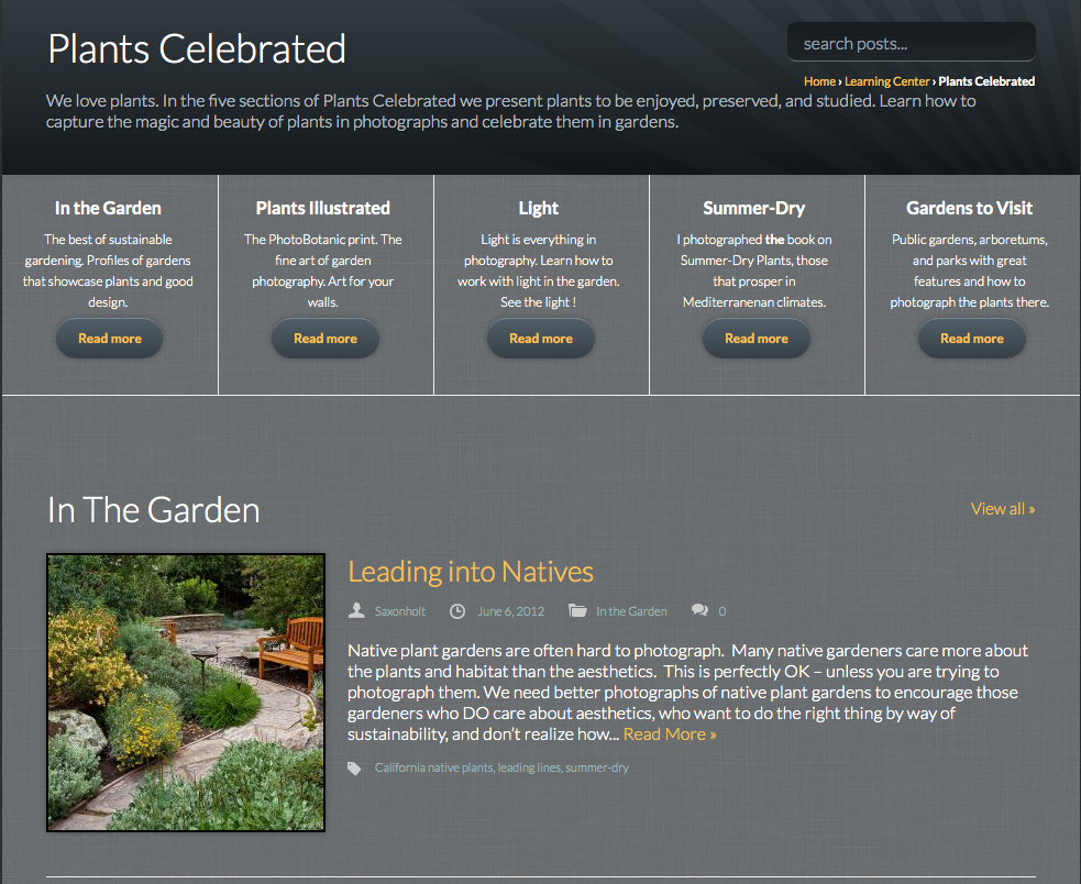 Screenshot Plants Celebrated page